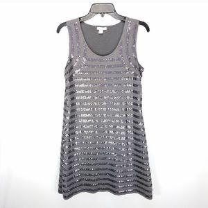 Gray sequin sleeveless dress